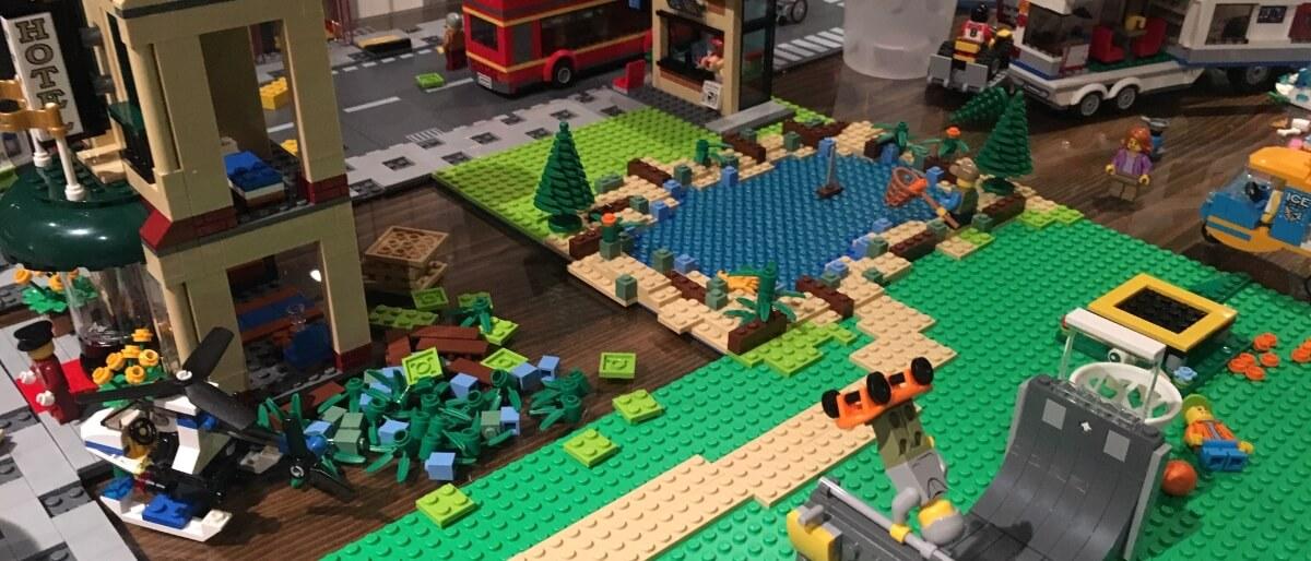 LEGO lake next to a skate park
