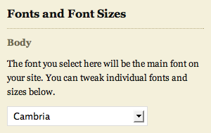 body font selector