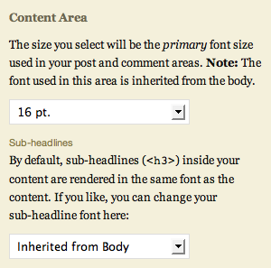 content area font selector