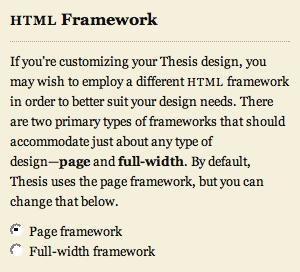 HTML framework selector