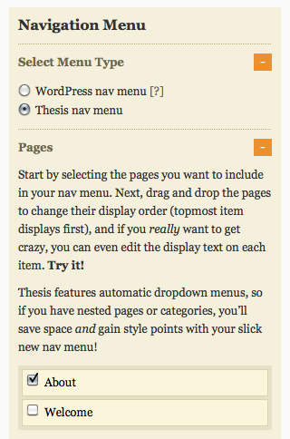 Navigation Menu - Pages