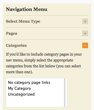 Navigation Menu - Categories