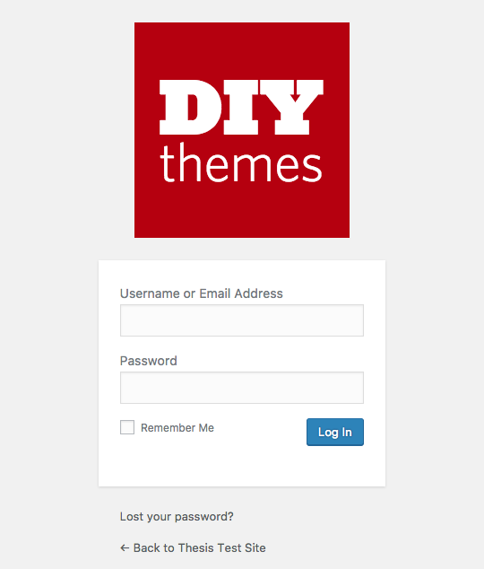 modified WordPress login screen