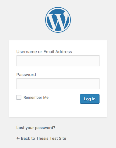 standard WordPress login screen