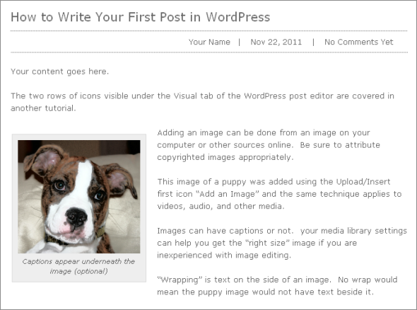 WP 101 - an example of your first WordPress Post