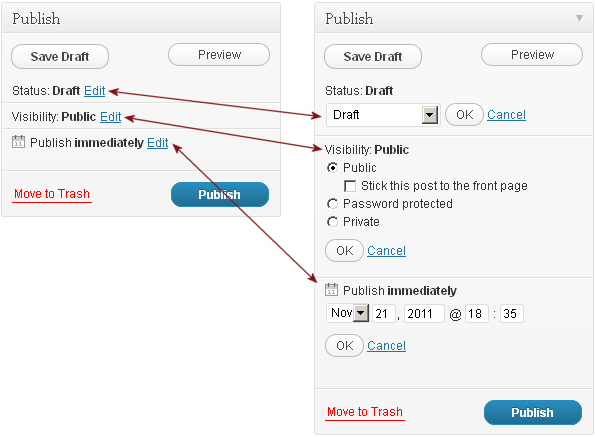 Full expansion of the WP Publish Controls in the Post Editor