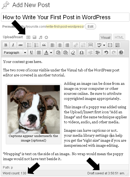 Full context of first WordPress post in the WP Post Editor