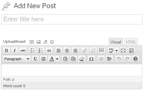 Adding a New Post - the Visual Editor Area