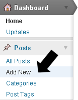 Sidebar of WP admin - click Add New to begin a new post