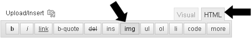 Clicking the IMG icon in the WP Editor -- HTML tab