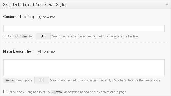 Thesis Post or Page SEO Input Fields