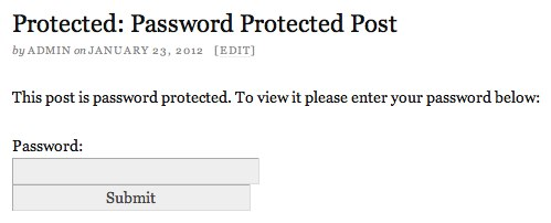 Default Password Form on Protected Post