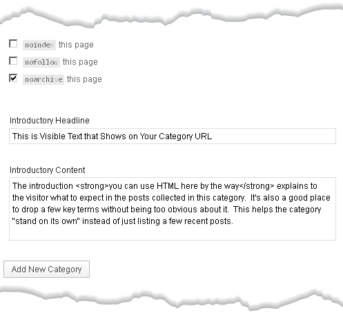 Sample Category SEO Thesis Interface Part II