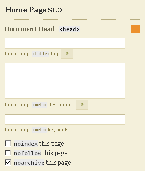 Home Page Default SEO Settings in Thesis