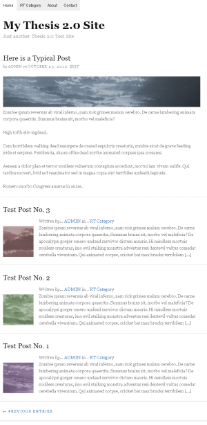 Thesis 2.0 Site with One Across per Row Teasers and Thumbnails