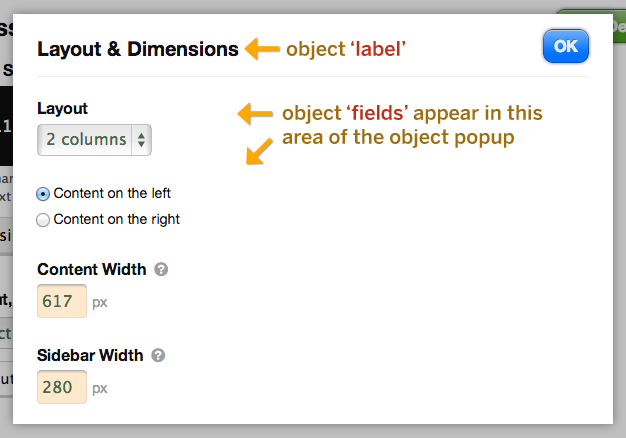 Thesis option object popup