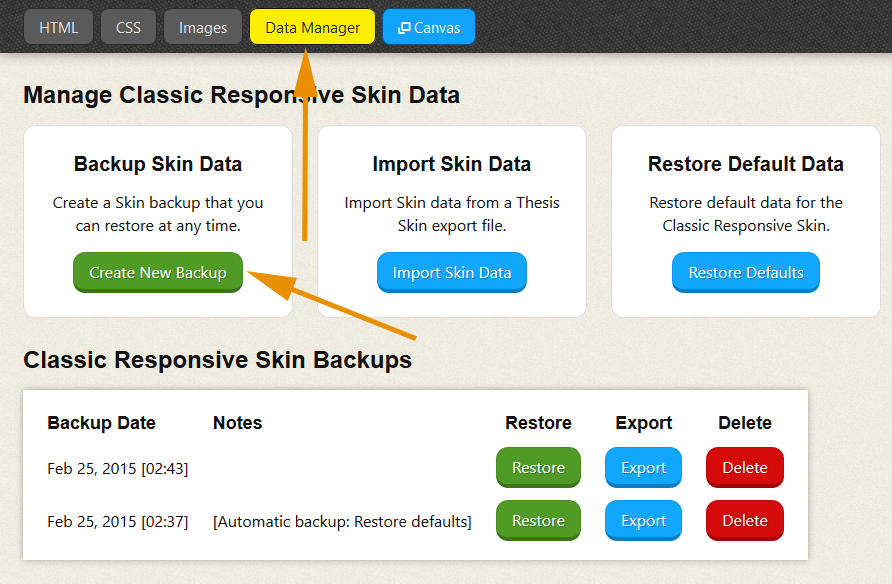 Thesis Skin Manager backup/restore