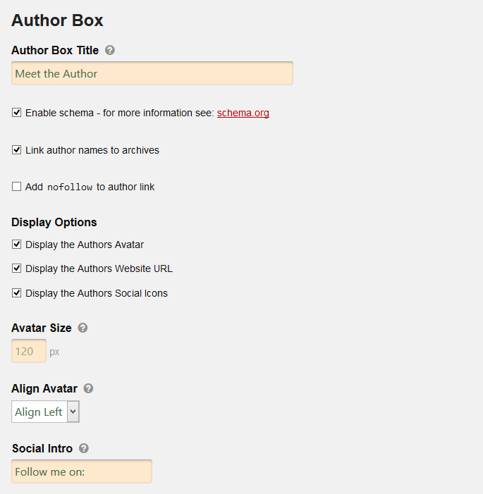 Author Box options