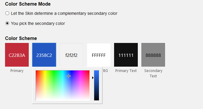 Color selection mode