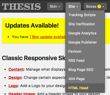 Thesis Site Menu HTML Head