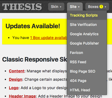 Thesis Site Menu: Footer Scripts