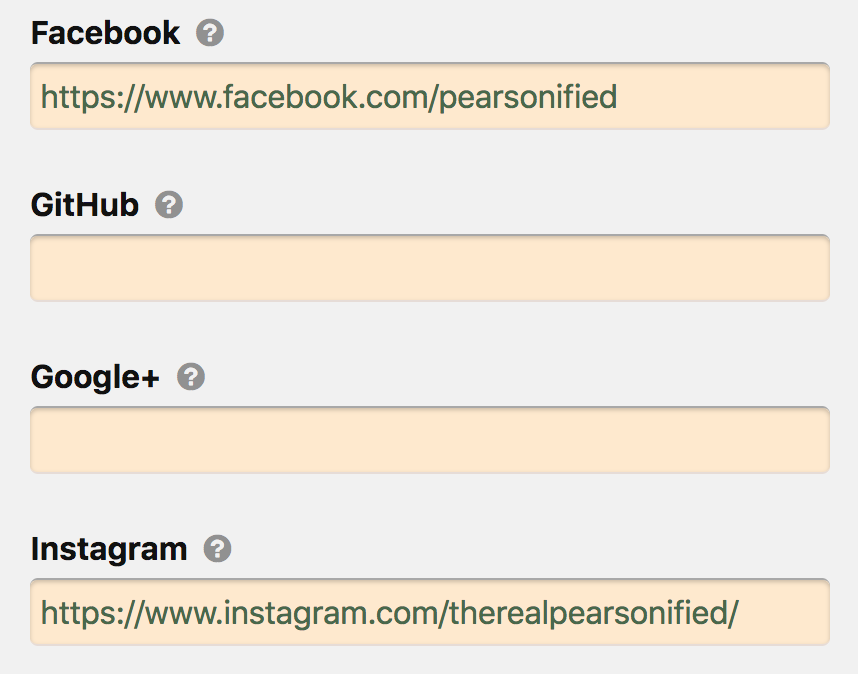 social media profile URLs