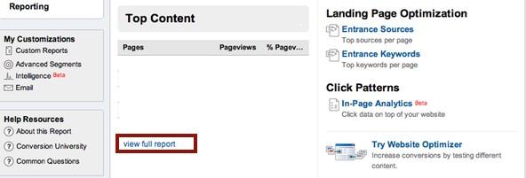 Google Analytics Full Content Report