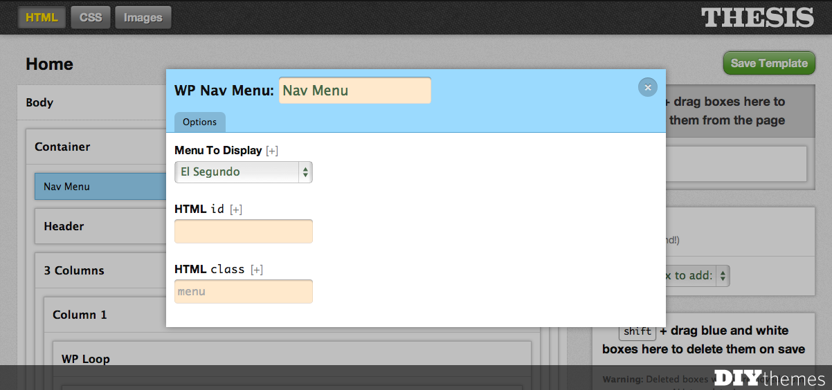 editing a nav menu in the Thesis Skin Editor
