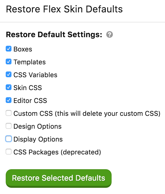Flex Skin 1.1 options reset