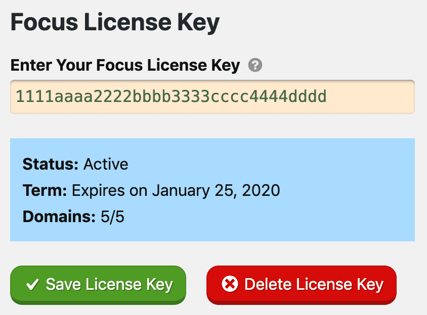 Focus License Key Page